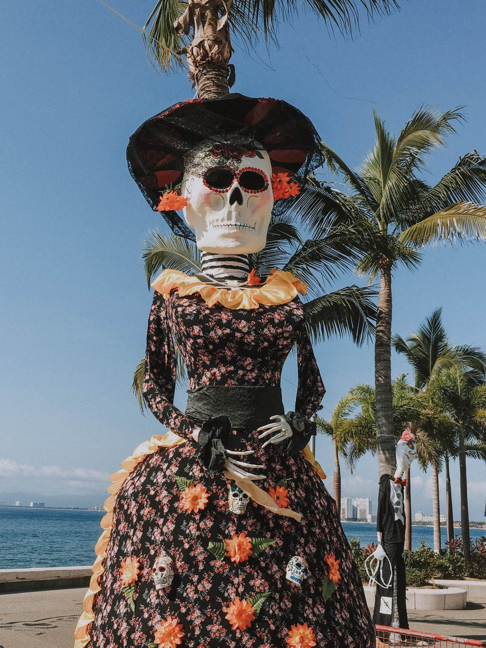 photo of skeleton wearing floral dress