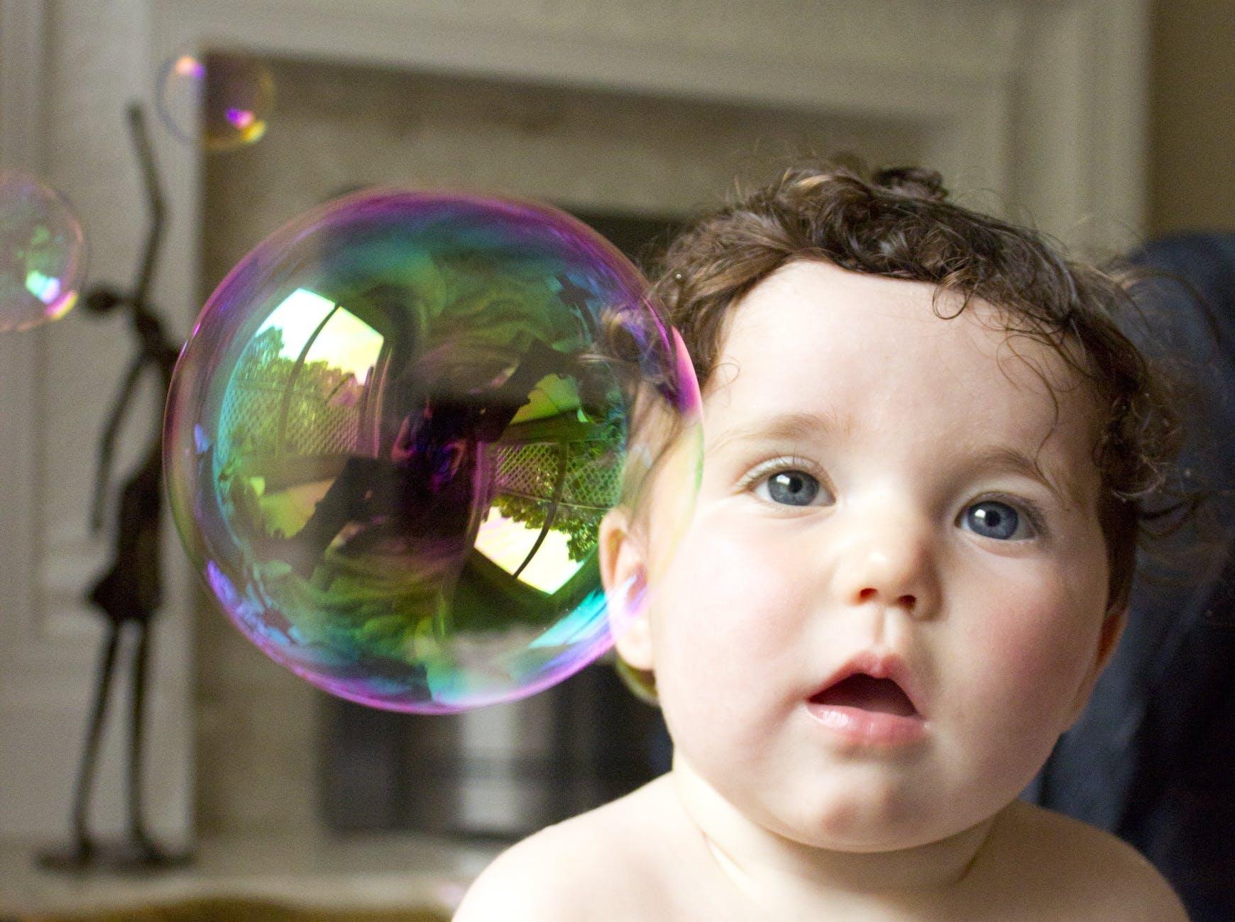 adorable baby boy bubble