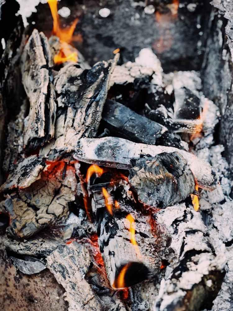 photo of pile of burning wood
